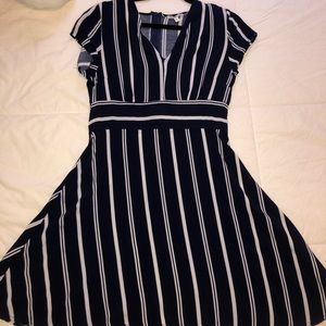 Navy blue dress with white stripes